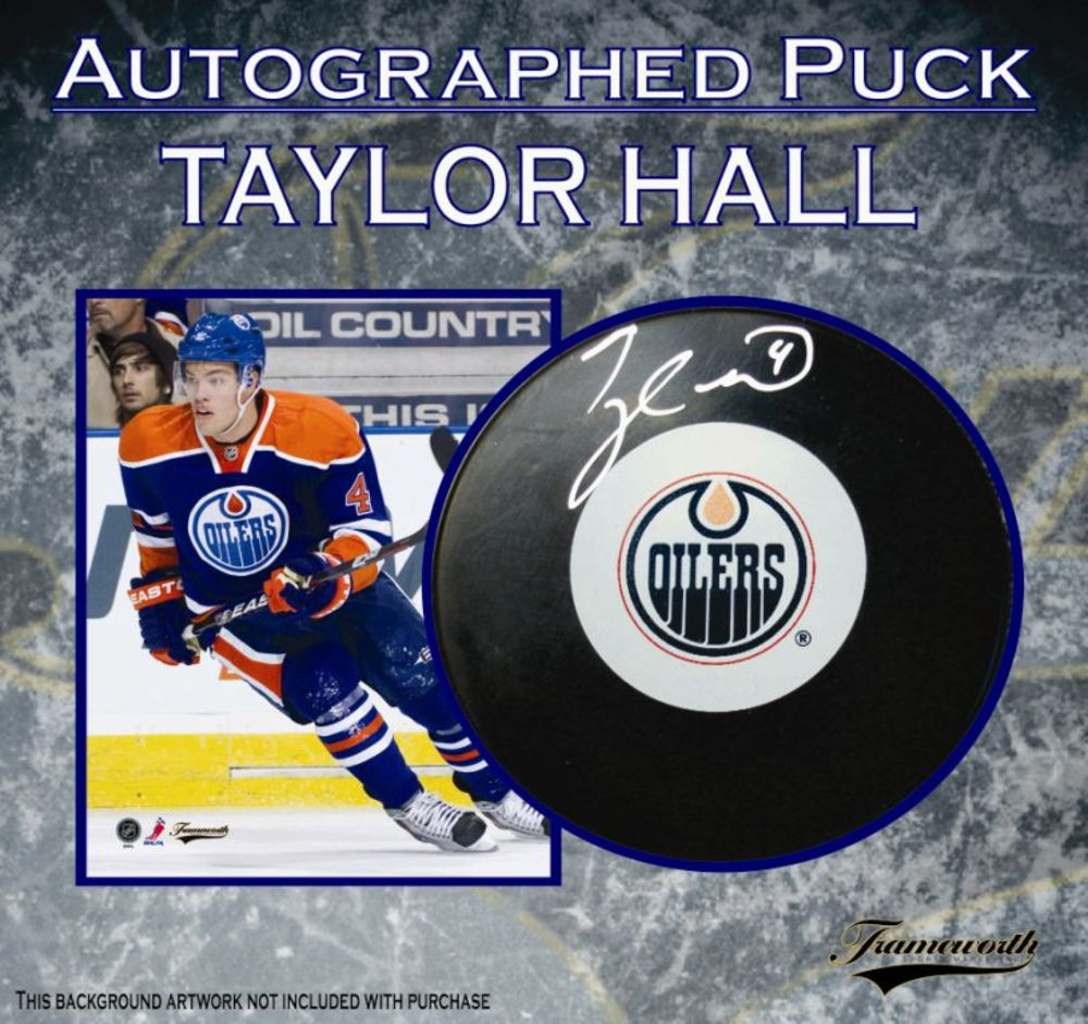 Taylor Hall Signed Puck Edmonton Oilers