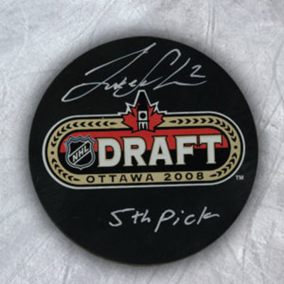 Luke Schenn 2008 NHL Draft Day Puck Autographed w/ 5th Pick Inscription *Kelowna Rockets*