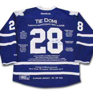 Tie Domi Autographed Toronto Maple Leafs Limited-Edition Career Stats Jersey