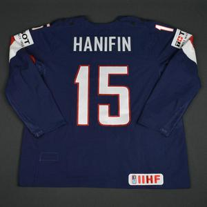 Noah Hanifin - 2016 U.S. IIHF World Championship - Game-Worn Jersey