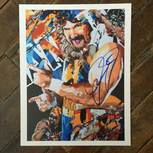 Photo of Mick Foley SIGNED 11 x 14 Rob Schamberger Print