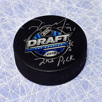 Tyler Seguin 2010 NHL Draft Day Puck Autographed w 2nd Pick Inscription *Plymouth Whalers*