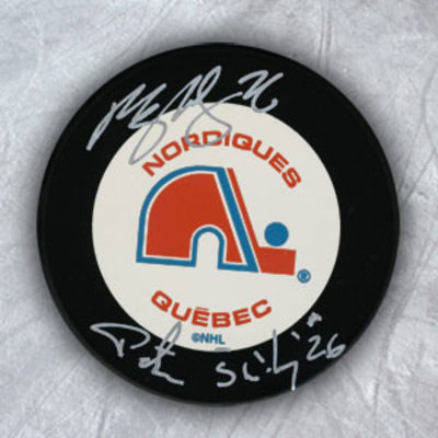 PETER & PAUL STASTNY Quebec Nordiques DUAL Autographed Hockey Puck