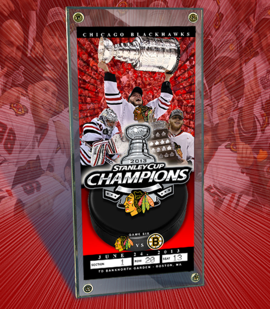 CHICAGO BLACKHAWKS 2013 NHL STANLEY CUP CHAMPS- Commemorative Ticket & Display Case