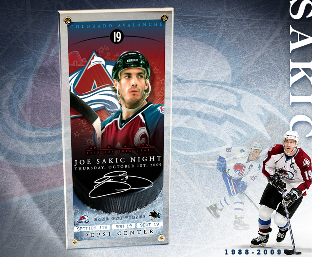 JOE SAKIC NIGHT - October 1st, 2009 - Commemorative Ticket w/Foil Stamp Signature & Display Case Lmt. Ed. of 119 - Colorado Avalanche