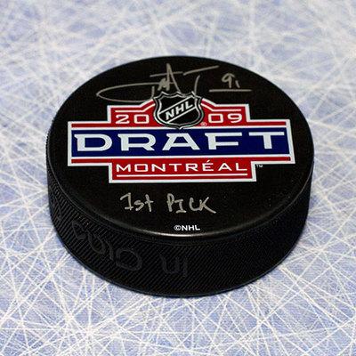 John Tavares 2009 NHL Draft Day Puck Autographed with 1st Pick Inscription *Oshawa Generals*