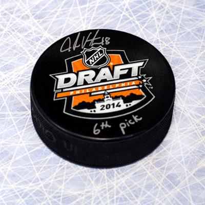 Jake Virtanen 2014 NHL Draft Day Puck Autographed w/ 6th Pick Inscription *Calgary Hitmen*