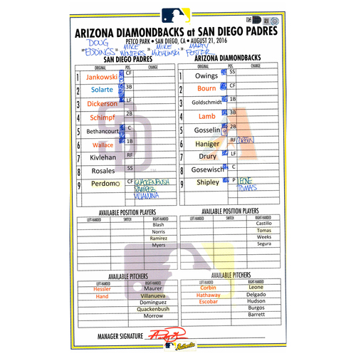Photo of San Diego Padres Game-Used Lineup Card vs. Arizona Diamondbacks on August 21, 2016