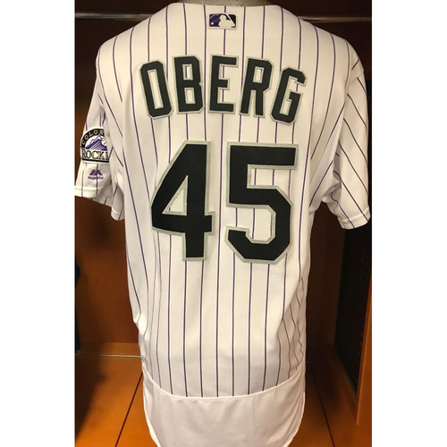 Photo of Colorado Rockies Scott Oberg Game Used Jersey to Aid Hurricane Harvey Relief Efforts