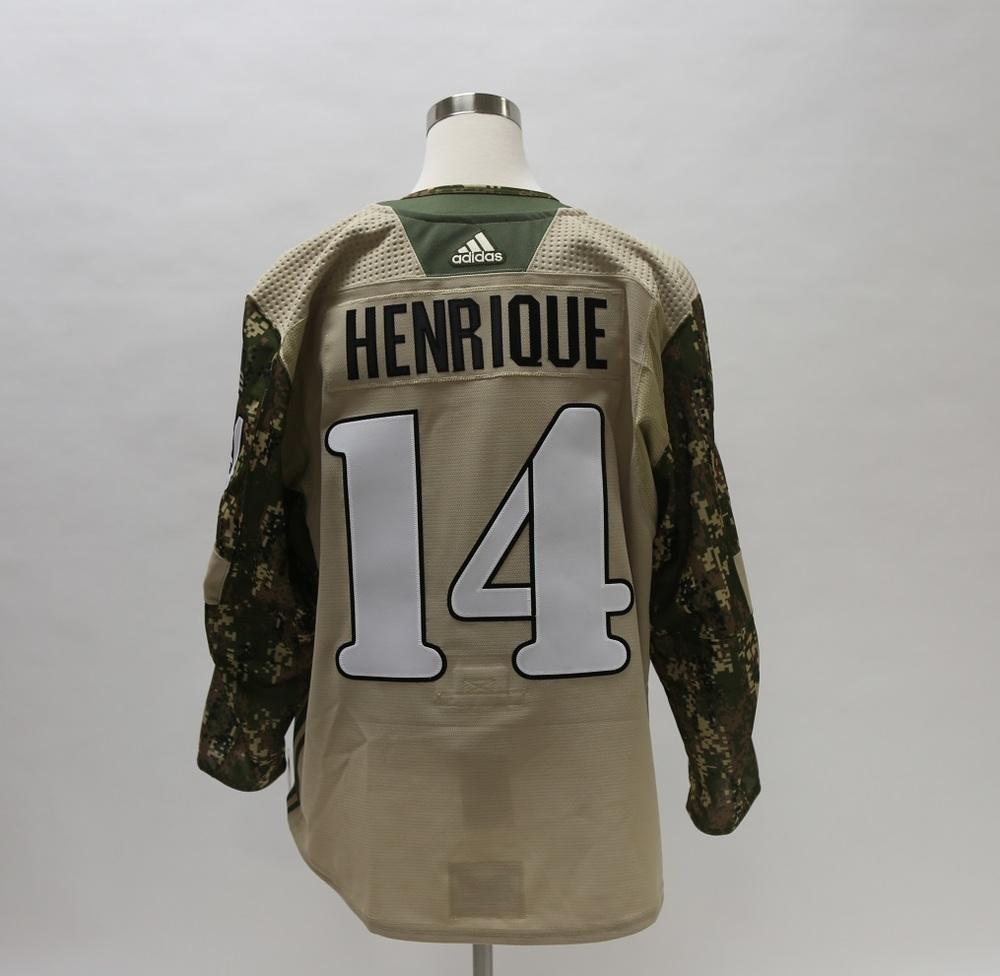 Adam Henrique Military Appreciation Camo Warm-Up Worn Autographed Jersey