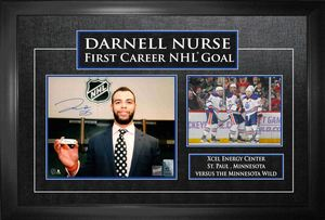 Darnell Nurse - Signed & Framed 8x10 Etched Mat - Featuring 5x7 Edmonton Oilers First Goal