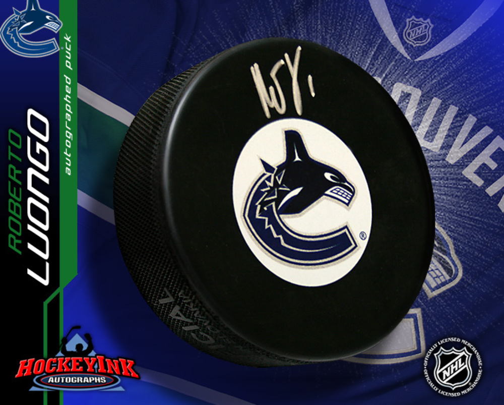 ROBERTO LUONGO Signed Vancouver Canucks New Logo Puck