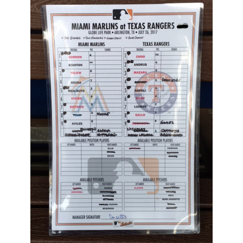 Photo of Marlins vs Rangers Line Up Card (Marlins Record)