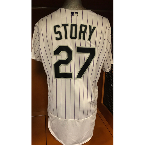 Photo of Colorado Rockies Trevor Story 2017 Game-Used Jersey to Aid Hurricane Harvey Relief Efforts