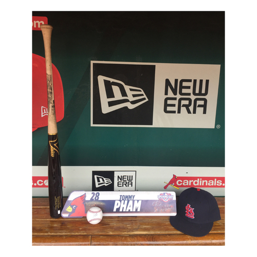 Photo of Cardinals Authentics: Tommy Pham Opening Day Locker Tag, Game used broken bat, Navy Road cap and Autograph baseball