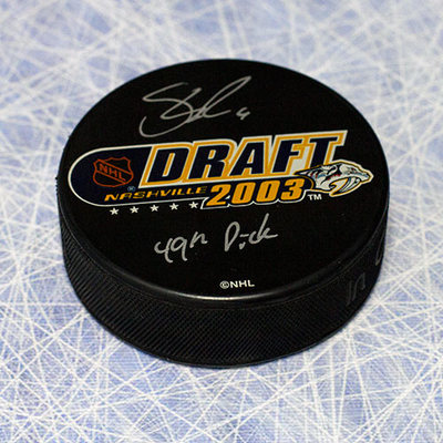 Shea Weber 2003 NHL Draft Day Puck Autographed with with 49th Pick Inscription *Kelowna Rockets*