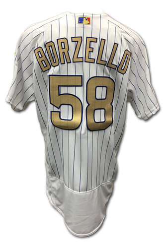 Photo of Mike Borzello Opening Day Game-Used Gold Jersey -- Dodgers vs. Cubs -- 4/10/17