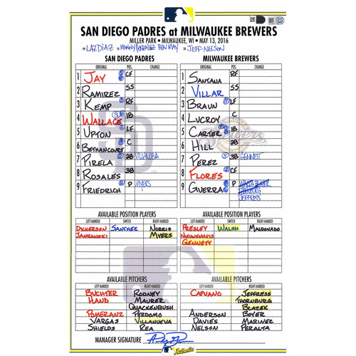 Photo of San Diego Padres Game-Used Lineup Card vs. Milwaukee Brewers on May 13, 2016, 1-0 Brewers Victory