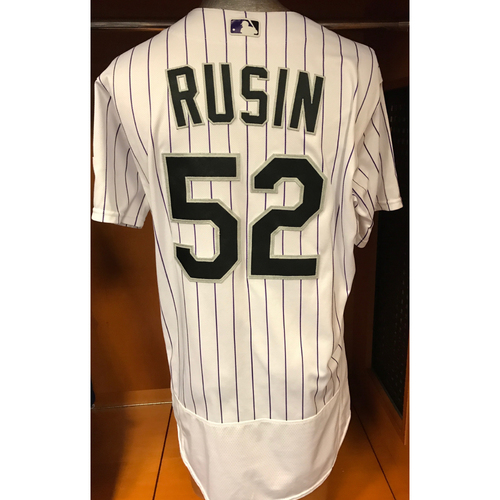 Photo of Colorado Rockies Chris Rusin Game Used Jersey to Aid Hurricane Harvey Relief Efforts
