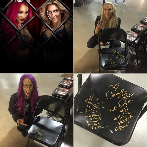 Photo of Sasha Banks & Charlotte Flair USED & SIGNED Steel Chair (Hell in a Cell - 10/30/16)