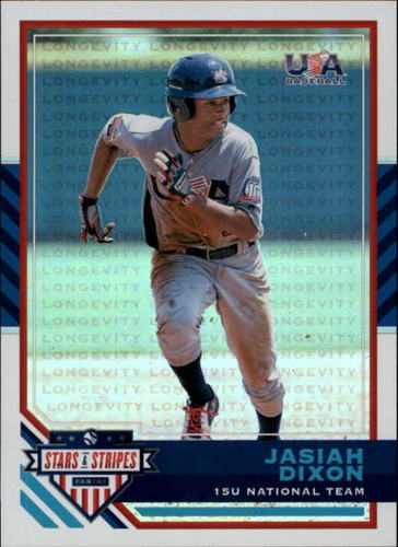 Photo of 2017 USA Baseball Stars and Stripes Longevity Holofoil #54 Jasiah Dixon RC 68/99