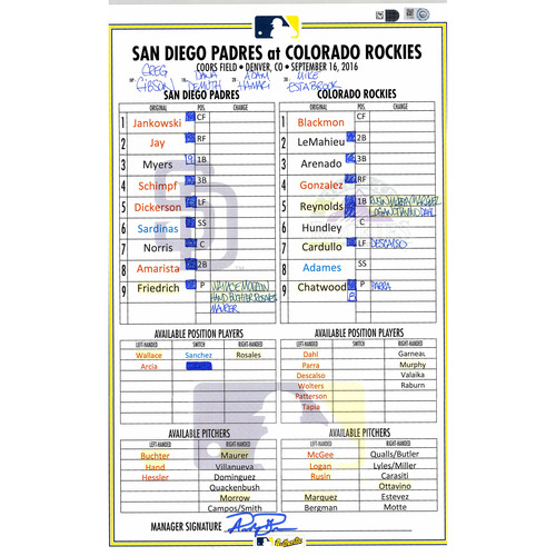 Photo of San Diego Padres Game-Used Lineup Card vs. Colorado Rockies on September 16, 2016, 8-7 Rockies Win. 3 hits and 3 RBI's by LeMahieu