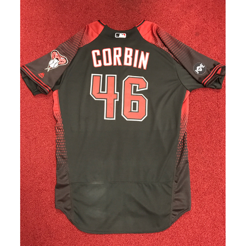 Photo of Patrick Corbin Game-Used and Autographed 2016 Los D-backs Jersey