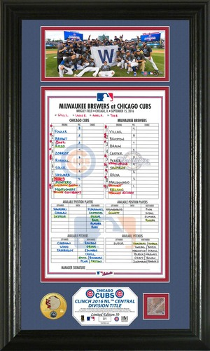 2016 Cubs N.L. Central Division Champions Plaque