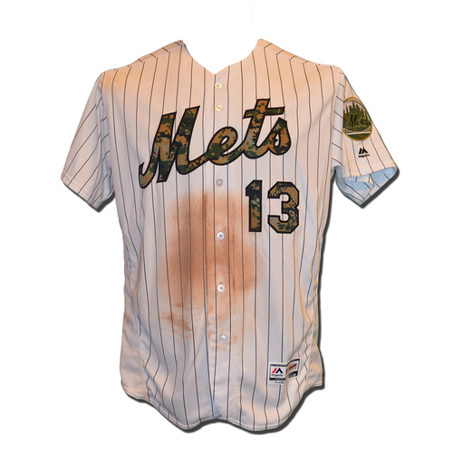 Photo of Asdrubal Cabrera #13 - Game Used Memorial Day Camo Jersey - Cabrera Collects 2 Hits - Mets vs. White Sox - 5/30/16