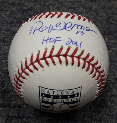 BLUE JAYS AUTHENTICS-Autographed Roberto Alomar Baseball with HOF 2011 Inscription on Hall of Fame Baseball