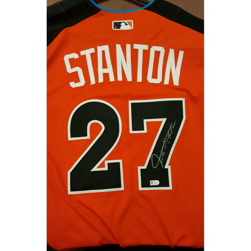 Photo of Giancarlo Stanton 2017 Major League Baseball Workout Day/Home Run Derby Autographed Jersey