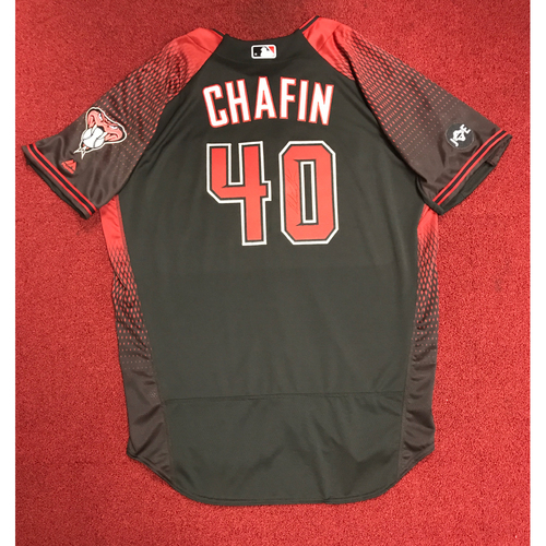 Photo of Andrew Chafin Team-Issued and Autographed 2016 Los D-backs Jersey