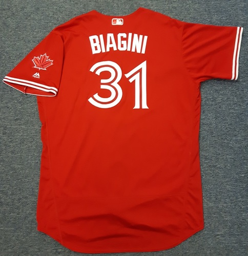Authenticated Game Used Jersey - #31 Joe Biagini (July 30, 2017). Size 52.