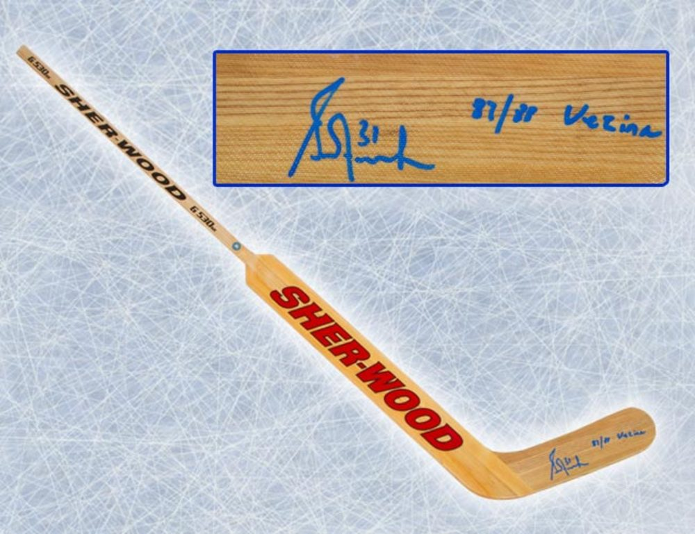 Grant Fuhr Edmonton Oilers Autographed Sherwood Goalie Stick w/ Vezina Note