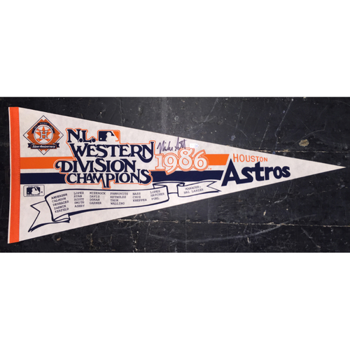 Photo of Original 1986 Astros NL West Pennant Autographed by Mike Scott