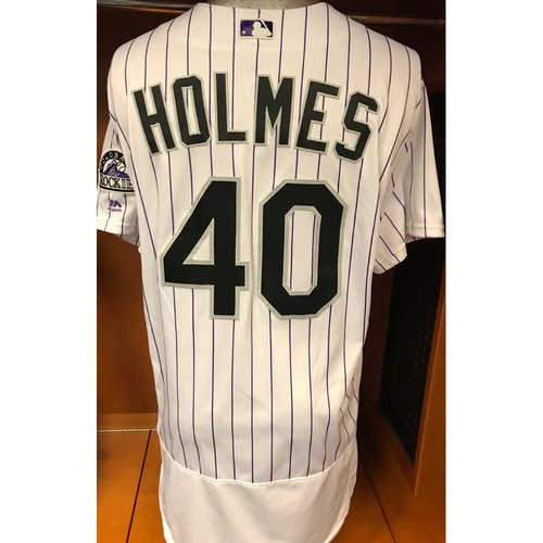 Photo of Colorado Rockies Darren Holmes Game Used Jersey to Aid Hurricane Harvey Relief Efforts