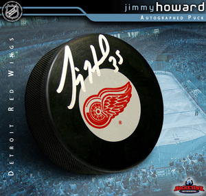 JIMMY HOWARD Signed Detroit Red Wings Puck
