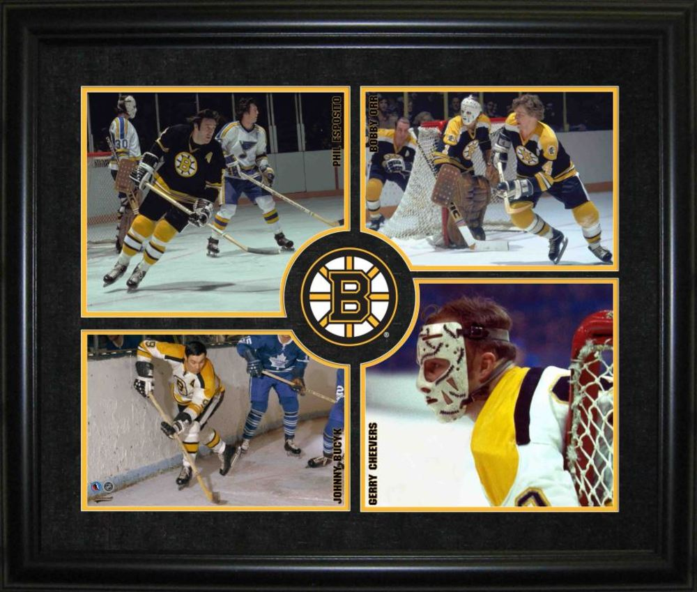 HHOF 4-Player Logo Frame - Boston Bruins
