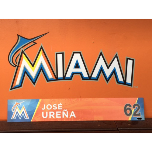 Photo of Jose Urena's 2017 Opening Day Locker Tag
