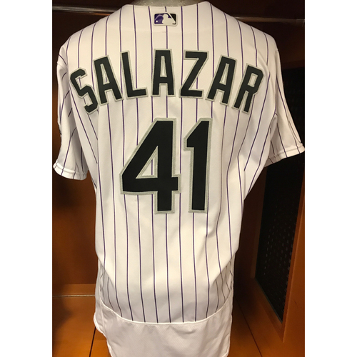 Photo of Colorado Rockies Jeff Salazar Game Used Jersey to Aid Hurricane Harvey Relief Efforts