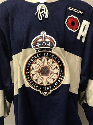 JAKE LESCHYSHYN 2018 MASTERCARD MEMORIAL CUP GAME WORN THEME JERSEY