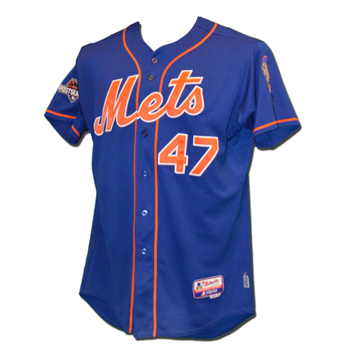Photo of Hansel Robles #47 - MLB Authenticated Team Issued 2015 Postseason Jersey - 2015 Postseason Patch on Right Sleeve