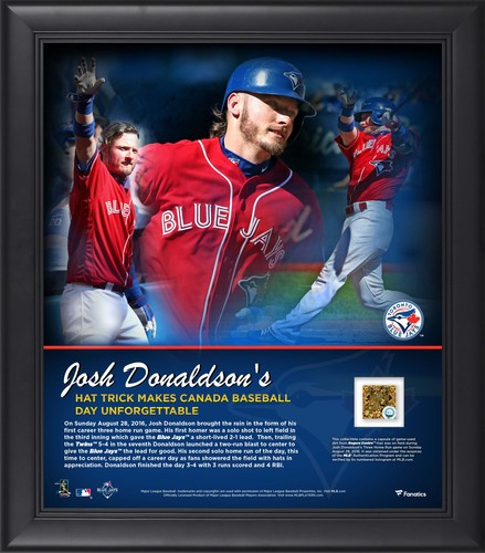 """Photo of BLUE JAYS AUTHENTICS- 15 x 17"""" Donaldson 'Hat Trick' photo with game used dirt - August 28th 2016"""