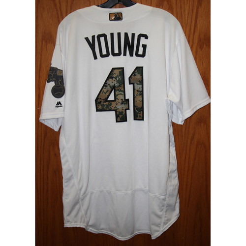 Photo of Curt Young Game-Used 2016 Memorial Day Jersey