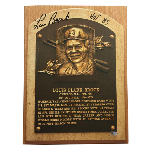 Photo of Cardinals Authentics: Lou Brock Hall of Fame Autographed Canvas