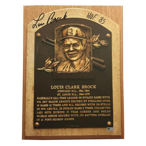 Cardinals Authentics: Lou Brock Hall of Fame Autographed Canvas