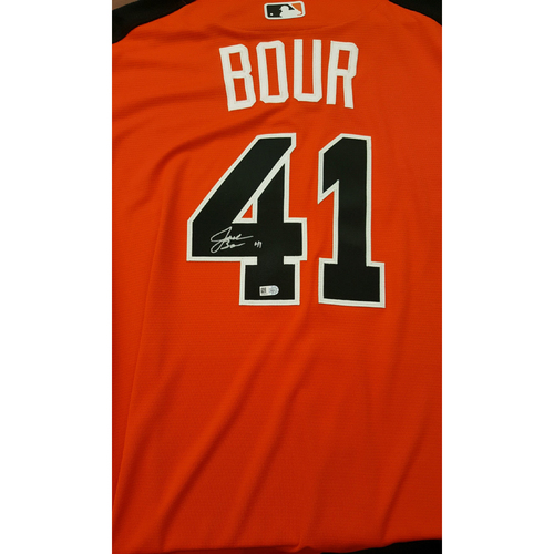 Photo of Justin Bour 2017 Major League Baseball Workout Day/Home Run Derby Autographed Jersey