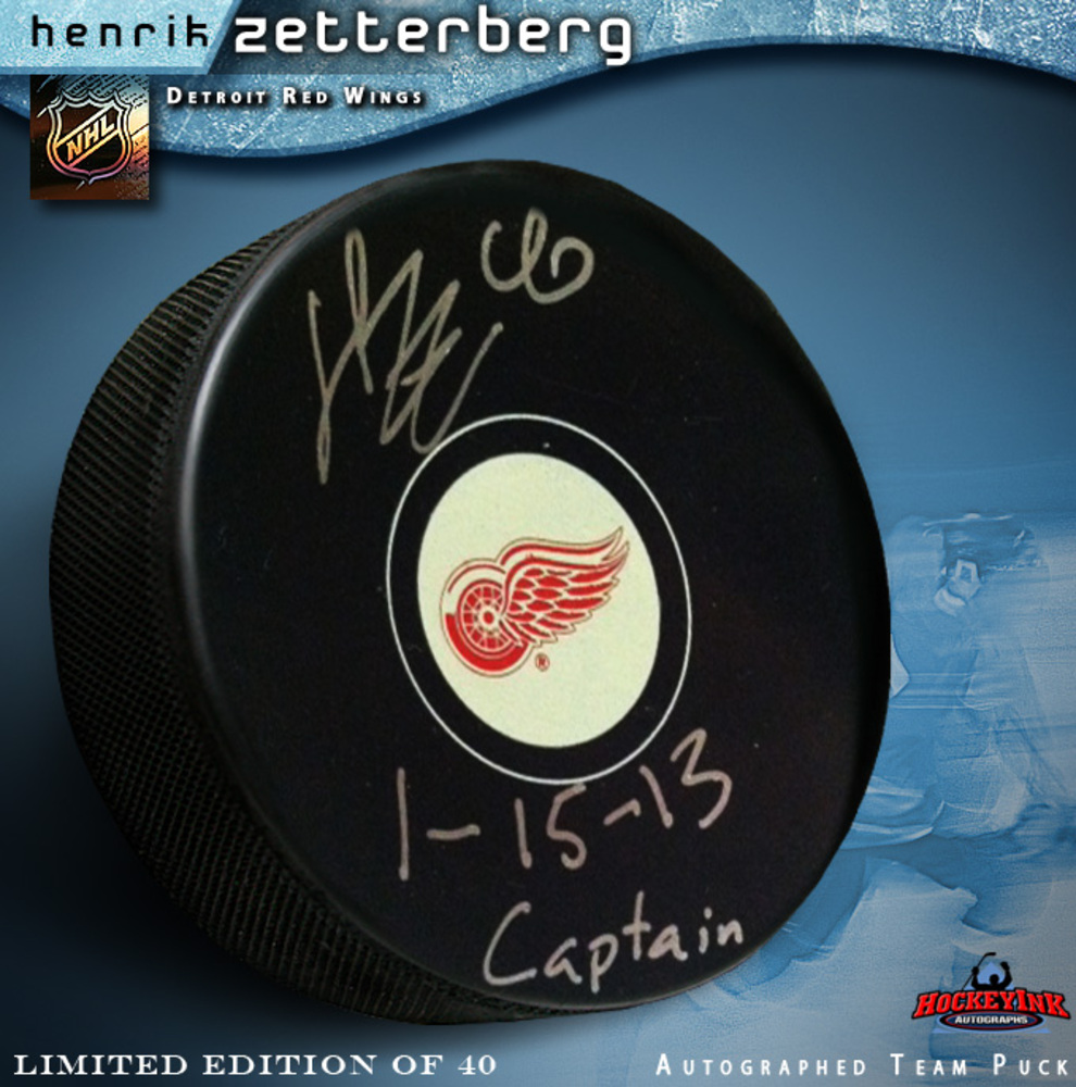 HENRIK ZETTERBERG Signed Detroit Red Wings Puck Inscribed