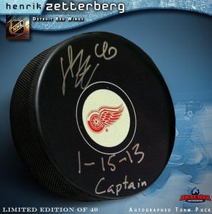 HENRIK ZETTERBERG Signed Detroit Red Wings Puck Inscribed