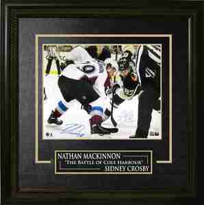 Sidney Crosby & Nathan MacKinnon - Dual Signed & Framed 16x20 Etched Mat - Battle of Cole Harbour